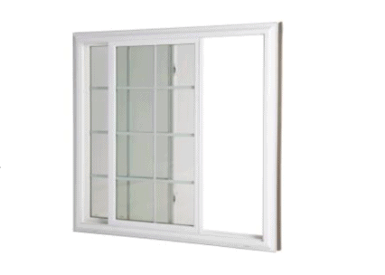 a slider window with grids and white vinyl